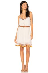 Band Of Gypsies Tassel Trim Belted Shift Dress Ivory