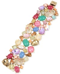 Betsey Johnson Gold Tone Multicolor Stone And Crystal Cluster Bracelet