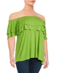 Context Plus Ruffled Off The Shoulder Top Green