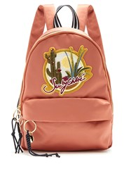 See By Chloe Cactus And Logo Embroidered Satin Backpack Pink