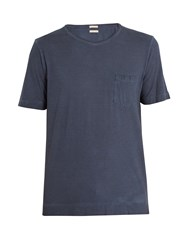 Massimo Alba Watercolour Effect Cotton T Shirt Navy
