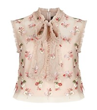 Needle And Thread Ditsy Bow Tie Neck Crop Top Pink