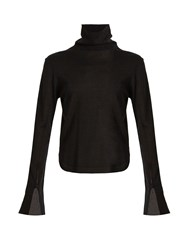Chloe Roll Neck Wool Silk And Cashmere Blend Sweater Black