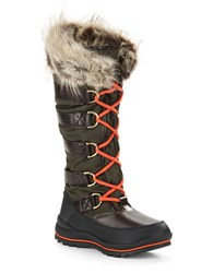 Guess Hadly Faux Fur Trimmed Lace Up Boots Green