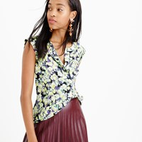 J.Crew Tall Sleeveless Drapey Popover Shirt In Clover Print