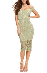 Missguided Women's Bardot Lace Off The Shoulder Dress Green