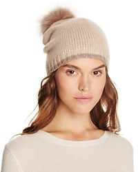 Magaschoni Color Block Fur Pompom Cashmere Hat Chestnut
