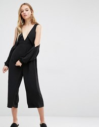 Neon Rose Cold Shoulder Awkward Length Jumpsuit With Deep V Front Black