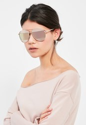 Missguided Rose Gold Split Lenses Aviator Sunglasses