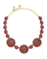 Oscar De La Renta Crystal Disc Statement Necklace Pink