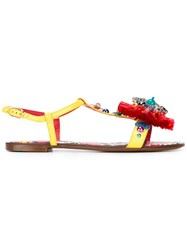Dolce And Gabbana Embellished Flat Sandals Yellow Orange