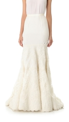 Reem Acra Lace Me Up Skirt Ivory