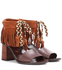 See By Chloe Fringed Leather And Suede Sandals Brown