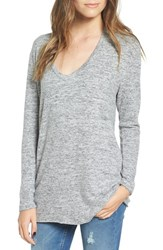 Women's Bp. V Neck Long Sleeve Sweater Grey Cloudy Heather