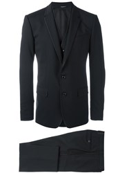 Dolce And Gabbana Embroidered Trim Three Piece Suit Blue