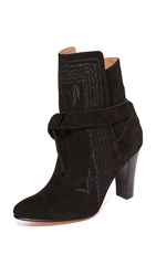 Ulla Johnson Aggie Embroidered Tie Booties Jet