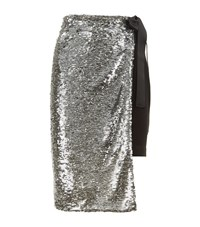 Pinko Sequin Midi Skirt Female Silver