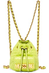 Moschino Quilted Leather Backpack Chartreuse