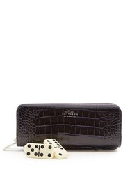 Smythson Mara Leather Dominoes Set Navy