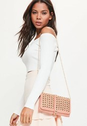 Missguided Pink Studded Clutch Bag