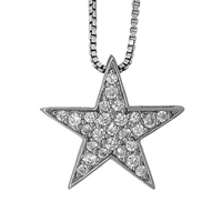 Jools By Jenny Brown Sterling Silver Pave Star Pendant Rhodium