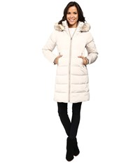 Vince Camuto Zip Front Faux Fur Trim Down L1991 Stone Women's Coat White