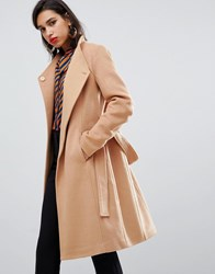 Y.A.S Belted Wrap Coat Tan