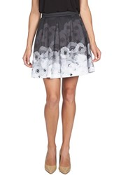 Women's Cece By Cynthia Steffe 'Diffused Pansies' Print Pleat Scuba Skirt Rich Black