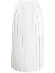 Balmain Pleated Midi Skirt White