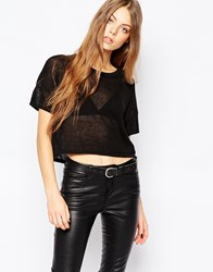 Dr. Denim Dr Denim Waffle Knit Crop Top Black