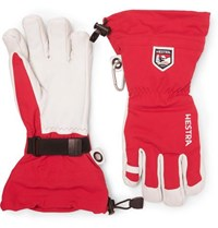 Hestra Leather And Shell Ski Gloves With Removable Liner Red