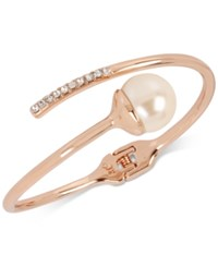 Kenneth Cole New York Rose Gold Tone Imitation Pearl And Crystal Bypass Bangle Bracelet Blush