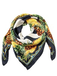 Dolce And Gabbana Pineapple Stripes Silk Twill Scarf