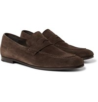 Dunhill Chiltern Suede Penny Loafers Dark Brown