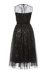 Dice Kayek Embellished Tulle Midi Dress Black