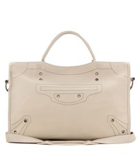 Balenciaga Blackout City Leather Tote Beige