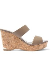 Jimmy Choo Parker Textured Leather Cork Wedge Sandals Taupe