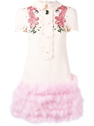 Vivetta Embroidered T Shirt Dress Pink Purple