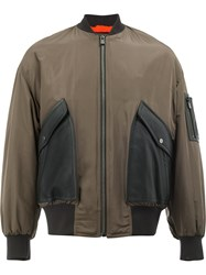 Drome Contrast Panel Bomber Jacket Calf Leather Polyester Lamb Fur Xl Brown