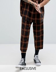 Reclaimed Vintage Inspired Relaxed Trousers In Check Black