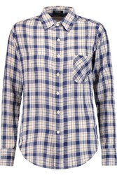 R 13 R13 Check Cotton And Wool Blend Shirt Blue