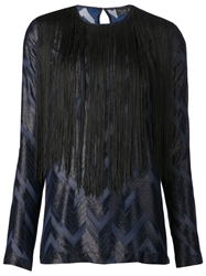 Yigal Azrouel Chevron Print Blouse Blue