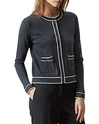 Hobbs London Rosina Merino Wool Cardigan Dark Gray Ivory