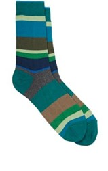 Barneys New York Men's Variegated Stripe Cotton Blend Mid Calf Socks Green
