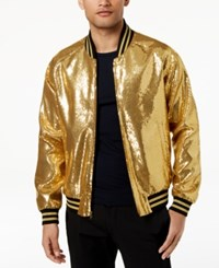 Tallia Orange Men's Slim Fit Gold Sequin Bomber Jacket