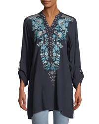 Neiman Marcus Embroidered V Neck Tunic Navy