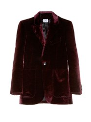 Vetements Patch Pocket Velvet Blazer Burgundy
