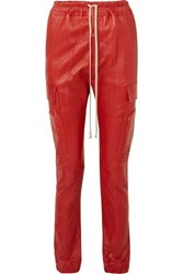 Rick Owens Leather Track Pants Red