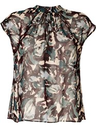 Tomorrowland All Over Print Blouse Green