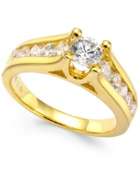 Macy's Certified Diamond Channel Engagement Ring In 14K White Or Yellow Gold 1 Ct. T.W.